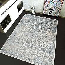 TAPISO Montreal Viskose Designer Teppich mit Ornamente Muster Teppich Klassisch Leinwand 3D Optik | Farbe Blau | Sehr Dick und Weich | Vintage 160 x 220 cm