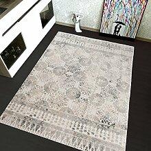 TAPISO Montreal Viskose Designer Teppich mit Ornamente Muster Teppich Klassisch Leinwand 3D Optik   Farbe Grau  Sehr Dick und Weich   Vintage 200 x 290 cm