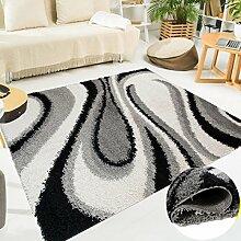 TAPISO SCANDINAVIA Shaggy Teppich Hochflor | Designer Grau Weiss Schwarz mit Modern Abstrakt Wellen Muster | Weich 5 cm Langflor Teppiche für Wohnzimmer | ÖKOTEX 120 x 170 cm