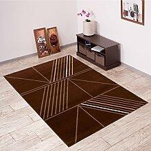 Tapiso Scarlet Teppich Kurzflor Designer Teppiche mit Dreieck Linien Muster in Modern Dunkelbraun Ideal für Wohnzimmer, Schlafzimmer Ökotex 140 x 200 cm