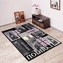 Tapiso Scarlet Teppich Kurzflor Modern London Teppiche mit Designer Big Ben Muster in Schwarz Mehrfarbig Ideal für Wohnzimmer, Schlafzimmer Ökotex 220 x 300 cm