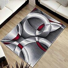 Tapiso SUMATRA Designer Teppich Kurzflor 3D Effekt Grau Weiss Abstrakt Kreise Streifen Muster Wohnzimmer Jugendzimmer ÖKOTEX 120 x 170 cm
