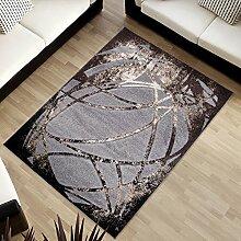 Tapiso SUMATRA Designer Teppich Kurzflor 3D Effekt Modern Braun Grau Abstrakt Streifen Muster Wohnzimmer Gästezimmer ÖKOTEX 60 x 100 cm