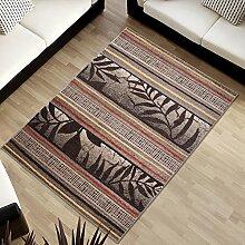 Tapiso SUMATRA Designer Teppich Kurzflor Konturenschnitt Beige Braun Linien Streifen Blumen Muster Wohnzimmer Schlafzimmer ÖKOTEX 140 x 190 cm