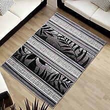 Tapiso SUMATRA Designer Teppich Kurzflor Konturenschnitt Grau Schwarz Linien Streifen Blumen Muster Wohnzimmer Schlafzimmer ÖKOTEX 60 x 100 cm