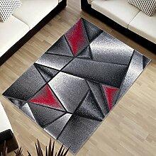 Tapiso SUMATRA Teppich Kurzflor Konturenschnitt Modern Grau Rot Abstrakt Karo Viereck Muster Designer Wohnzimmer Jugendzimmer ÖKOTEX 120 x 170 cm