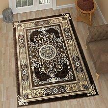TAPISO Tango – Traditionell Braun Teppich für Wohnzimmer - Perser Blumenmuster Geometrisch Kreisförmig für Klassische Inneneinrichtung - Hochwertiger Teppich für Schlafzimmer - Traditioneller Design für zu Hause 300 x 400 cm