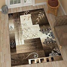TAPISO Tango – Traditionell Braun Teppich für Wohnzimmer - Perser Blumenmuster Geometrisch Kreisförmig für Klassische Inneneinrichtung - Hochwertiger Teppich für Schlafzimmer - Traditioneller Design für zu Hause 120 x 170 cm