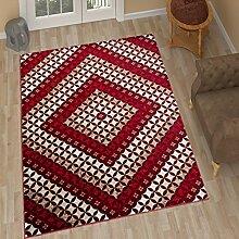 TAPISO Tango – Traditionell Burgund Teppich für Wohnzimmer - Perser Blumenmuster Geometrisch Kreisförmig für Klassische Inneneinrichtung - Hochwertiger Teppich für Schlafzimmer - Teppich im Traditionellen Design für zu Hause 80 x 150 cm