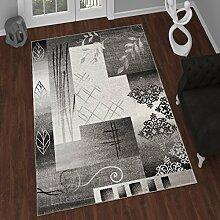 TAPISO Tango – Traditionell Grau Teppich für Wohnzimmer - Perser Blumenmuster Geometrisch Kreisförmig für Klassische Inneneinrichtung - Hochwertiger Teppich für Schlafzimmer - Traditioneller Design für zu Hause 140 x 190 cm