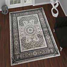TAPISO Tango – Traditionell Grau Teppich für Wohnzimmer - Perser Blumenmuster Geometrisch Kreisförmig für Klassische Inneneinrichtung - Hochwertiger Teppich für Schlafzimmer - Traditioneller Design für zu Hause 60 x 100 cm