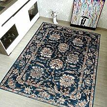 TAPISO Teppich Klassisch Micro Polyester Shaggy Teppich Meliert Floral Ornament Blumenmuster in Blau - Antique Kollektion 60 x 100 cm