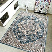TAPISO Teppich Shaggy Meliert Bordüre Rosette Floral Ornament, Polyester, Blau, 100 x 60 x 2 cm