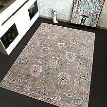TAPISO Teppich Wohnzimmer Klassisch micro polyester shaggy Teppich Meliert Floral Ornament Blumenmuster in Grau - Antique Kollektion 240 x 330 cm