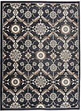 TAPISO TEPPICH WOHNZIMMER ORIENTTEPPICH KLASSISCH MUSTER ORNAMENTE SCHWARZ QUALITÄT ÖKO TEX - DUBAI KOLLEKTION 140 x 200 cm