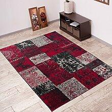 Tapiso Vintage Teppich Wohnzimmer Orient Muster Patchwork Karo, Polypropylen, Grau, 170 x 120 x 0.2 cm