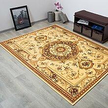 TAPISO® YESEMEK Klassisch Teppich Kurzflor | Orientalisch Teppiche mit Floral Medaillon Muster und Bordüre in Creme Beige | Barock Design Ideal für Wohnzimmer | ÖKOTEX 300 x 400 cm