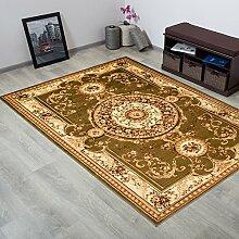 TAPISO® YESEMEK Klassisch Teppich Kurzflor | Orientalisch Teppiche mit Floral Medaillon Muster und Bordüre in Grün Creme | Barock Design Ideal für Wohnzimmer | ÖKOTEX 70 x 140 cm