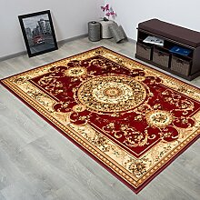 TAPISO® YESEMEK Klassisch Teppich Kurzflor | Orientalisch Teppiche mit Floral Medaillon Muster und Bordüre in Rot Creme | Barock Design Ideal für Wohnzimmer | ÖKOTEX 60 x 100 cm