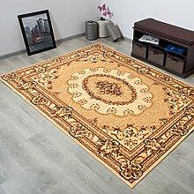 TAPISO® YESEMEK Teppich Klassisch Kurzflor | Orientalisch Teppiche mit Floral Medaillon Muster und Bordüre in Braun Beige | Barock Design Ideal für Wohnzimmer | ÖKOTEX 180 x 260 cm