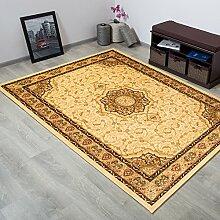 TAPISO® YESEMEK Teppich Klassisch Kurzflor | Orientalisch Teppiche mit Floral Ziegler Ornament Muster Bordüre in Creme Beige | Barock Design Ideal für Wohnzimmer | ÖKOTEX 160 x 220 cm