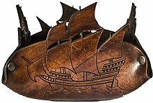 Taschenleerer aus echtem Leder pflanzlich gegerbt mit Segelschiff Gravur–etabeta Handwerker Toscano–Made in Italy