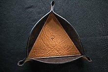Taschenleerer Dreieck 23cm aus Büffelleder und Wildleder, handgefertigt in Toscana zertifiziert braun