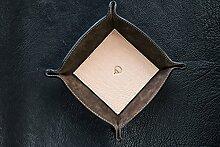 Taschenleerer quadratisch 23cm aus Büffelleder und Wildleder, handgefertigt in Toscana zertifiziert beige
