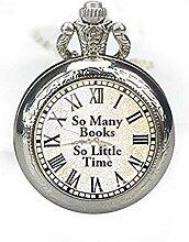 Taschenuhr, Halskette für Buchliebhaber,