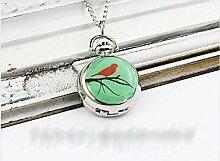 Taschenuhr mit rotem Vogel auf Ast, mit Halskette,