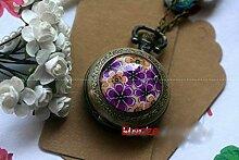 Taschenuhr mit violetter Blume, Halskette mit