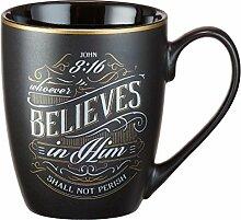 Tasse–Wer an ihn glaubt, matt schwarz