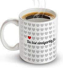 Tasse - 1000 Herzen Magische Liebes Tasse – Standard – OHNE Farbeffekt – Origineller Kaffeebecher als Valentinstagsgeschenk