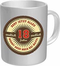 Tasse Ø 8,5 cm Keramik Mugs Becher - Endlich 18 darf jetzt Alles