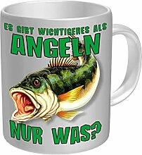 Tasse Angeln Kaffeebecher weiss grün 330ml