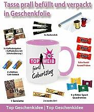 Tasse/Becher befüllt Pink zum Geburtstag * 18 Top Weib * Wählen Sie aus 36 Motiven. Für ein anderes Alter einfach E-Mail an uns. Jedes Alter ist verfügbar.