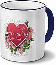 Tasse Beste Freundin der Welt - Motiv Herz - Namestasse, Kaffeebecher mit Namen, Mug, Becher, Kaffeetasse - Farbe Blau