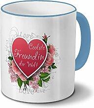 Tasse Coolste Freundin der Welt - Motiv Herz - Namestasse, Kaffeebecher mit Namen, Mug, Becher, Kaffeetasse - Farbe Hellblau