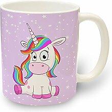 Tasse Einhorn Lady Sit-in - Kaffeebecher Kaffeetasse Teetasse Trinkbecher Kinder Tiere Pferde mit Motiv Regenbogen Einhörner Rosa Becher für Kaffee Tee Milch Kakao