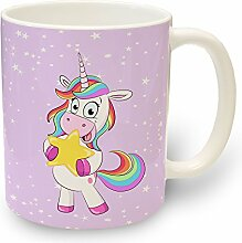 Tasse Einhorn Lady Star - Kaffeebecher Kaffeetasse Tiere Pferde mit Motiv Regenbogen Einhörner Rosa
