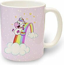 Tasse Einhorn Rutsche - Kaffeebecher Kaffeetasse Teetasse Trinkbecher Kinder Tiere Pferde mit Motiv Regenbogen Einhörner Rosa Becher für Kaffee Tee Milch Kakao