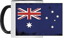 Tasse Fahne Retro Australien weiß - Becher Pott