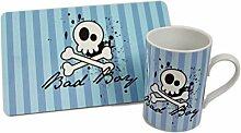 "Tasse & Frühstücksbrettchen Set - ""Bad Boy"" - blau - böser Junge, Mann, Männer"