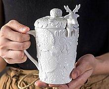 Tasse Geschenk Kaffee 320Ml, Porzellan Rentier