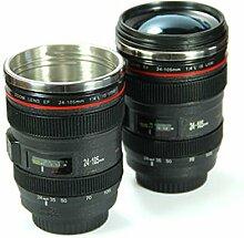 Tasse in Objektiv-Form von Spiegelreflexkamera mit Schraubverschluss Objektiv Kamera Innenraum aus Aluminium A6