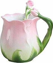 Tasse Kaffee Becher 3D Rose Tassen Farbe Emaille