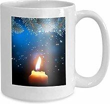 Tasse Kaffee Tee Tasse Brennende Kerze Hintergrund