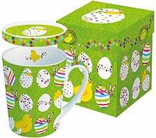 Tasse Kaffeebecher Teebecher mit Deckel Ostern Osterhase Ostereier in passendem Geschenkkarton Geschenkidee