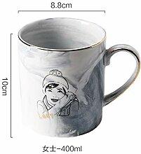Tasse Kaffeetasse Outdoor-Reisebecher Glod Marmor