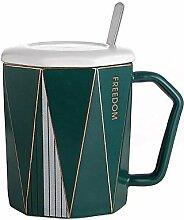 Tasse Kaffeetassen Geschenk Deckel Löffel Keramik